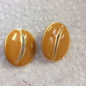 Mustard Enamel Pierced Earrings